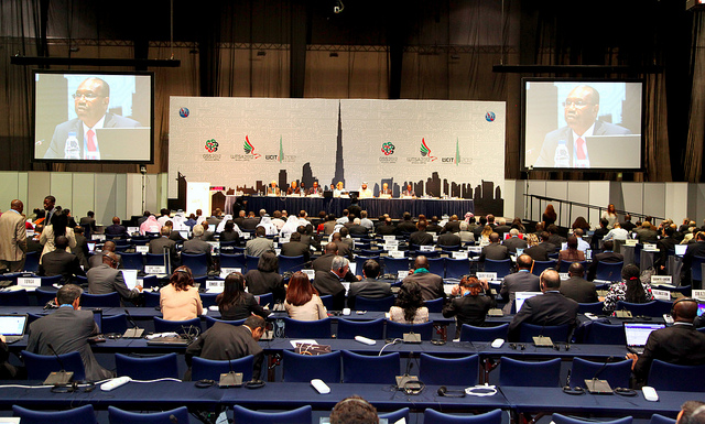 WCIT TALKS. Delegates at the first morning session of WCIT 2012, Dubai U.A.E., 3-14 December 2012. Photo from ITU on Flickr.