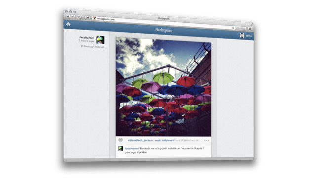 WEB FEED. Instagram now allows users to view their Instagram feed on the web. Screen shot from Instagram.