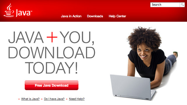 JAVA VULNERABILITY. It may be time to uninstall or disable Java on your system. Screen shot from Java homepage.