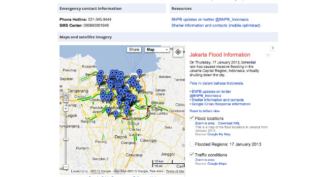 CRISIS RESPONSE. Google's complete emergency page for Jakarta has contact information, news, and maps. Screen shot from Google.