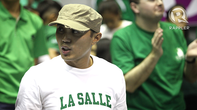 Former La Salle player Ren-Ren Ritualo watches the DLSU vs Ateneo game. Photo by Josh Albelda.