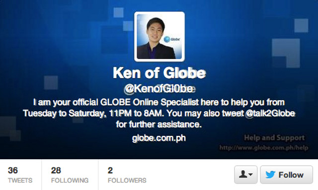 FAKE KEN. The fake Ken of Globe. See the difference in the number 0 versus the letter O as well as the background and tweet and follower count. Screen shot from Twitter.
