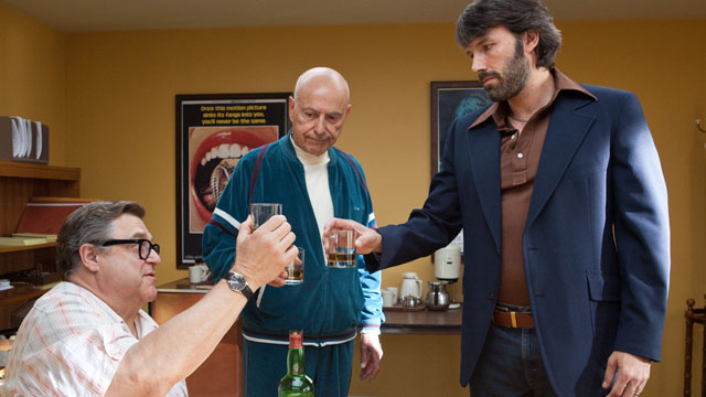 LET'S TOAST TO THAT. John Goodman, Alan Arkin and Ben Affleck in Argo. Photo by Warner Bros. Pictures