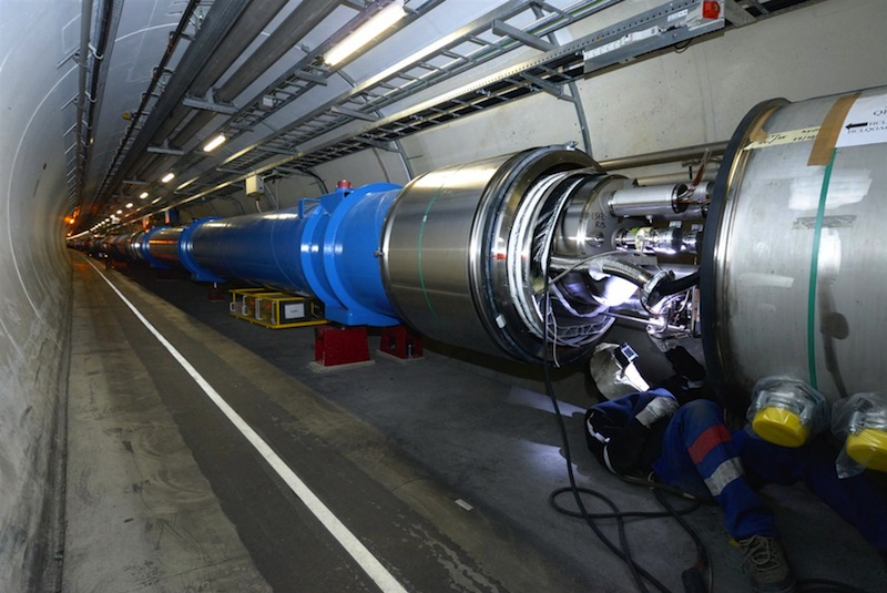 Over 10,000 high-current splices between LHC magnets will be opened and consolidated during the first Long Shutdown of the LHC. This image shows their installation in 2007. CERN photo