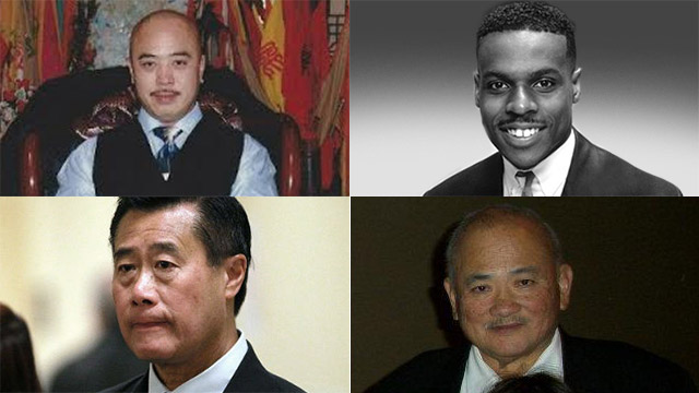 THE BIG 4. (From top left to right) alleged Chinatown gang leader Raymond Chow, former San Francisco School Board member Keith Jackson, California State Senator Leland Yee, and Dr Wilson Lim are indicted on federal corruption and conspiracy to smuggle weapons to the United States. Photo from Chow's Facebook, Lowell High School in San Francisco and Agence France-Presse