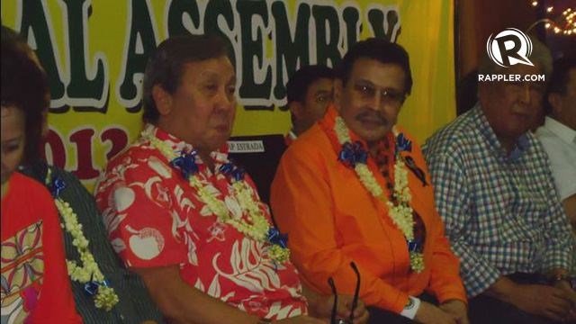 ALL AGAINST LIM. (From left) Former Manila Mayor Lito Atienza, Estrada, and 5th district Rep. Amado Bagatsing. Photo by Jerald Uy