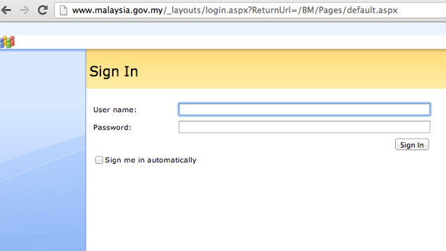SITE DOWNTIME. Attempts to access Malaysia.gov.my redirected to this login page at 10:46 am.