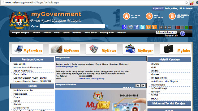 BACK TO NORMAL? Malaysia's government portal back online as of 11:08 am.