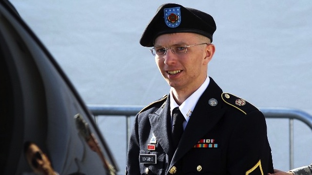 U.S. Army Private Bradley Manning is escorted as he leaves a military court at the end of the first of a three-day motion hearing June 6, 2012 in Fort Meade, Maryland. Alex Wong/Getty Images/AFP