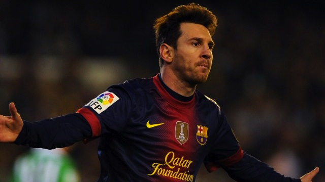 GOAL! Barcelona's Argentinian forward Lionel Messi celebrates after scoring during the Spanish league football match Real Betis vs FC Barcelona on December 9, 2012 at the Benito Villamarin stadium in Sevilla. AFP PHOTO/JORGE GUERRERO