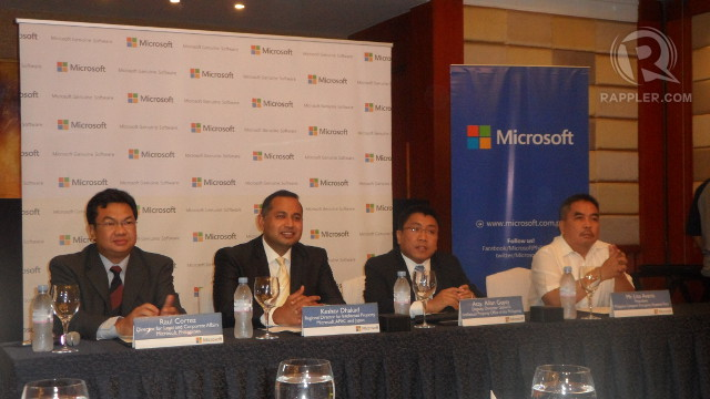 MICROSOFT TALKS. Microsoft's panelists during the question and answer section of their press conference.