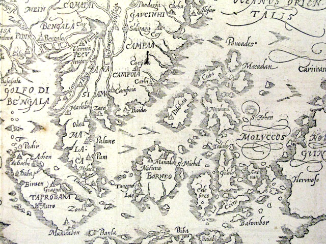 A 1598 map by Sebastian Munster showing Southeast Asia with no borders.