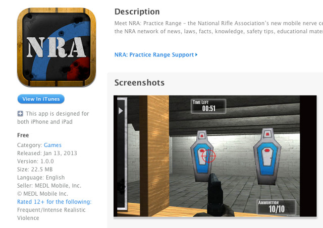 12 AND UP. The updated NRA: Practice Range page has a new age rating. Screen shot from Apple App Store.