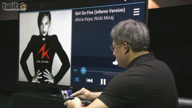 SHIELD DEMO. NVIDIA's Project SHIELD gets tested during their press conference. Screen shot from NVIDIA press conference livestream.