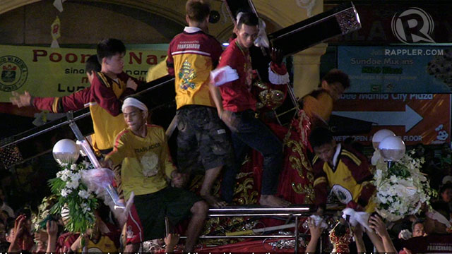 TRANSLACION. Millions of devotees re-enact the transfer of the image of the Black Nazarene in January 9, 1787 from  Church of San Juan Bautista in Bagumbayan, now part of Luneta Park, to the Quiapo Church.