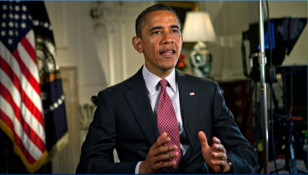 US President Barack Obama tapes his weekly address to the American people. White House Photo, Lawrence Jackson, 5/25/12