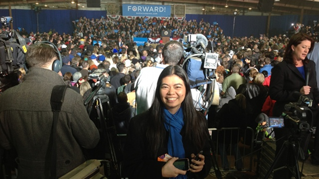 COVERING OBAMA (Photo by WCMH NBC 4 political reporter Ted Hart)