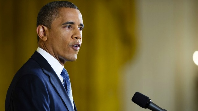 FISCAL CLIFF. US President Barack Obama speaks during a press conference November 14, 2012 in the East Room of the White House in Washington, AFP PHOTO/JIM WATSON