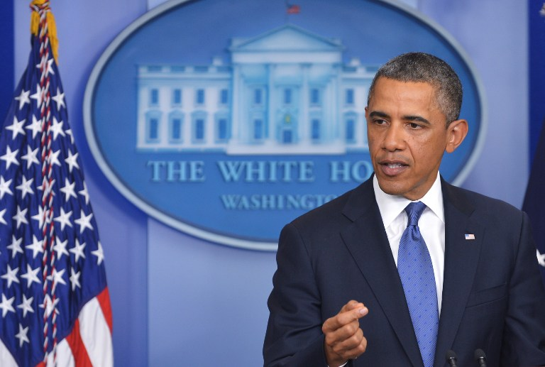 US President Barack Obama speaks following a meeting with congressional leaders in the Brady Briefing Room of the White House on December 28, 2012 in Washington, DC. AFP PHOTO/Mandel NGAN