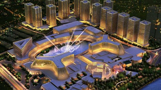 NEW DEAL. The Okada and Gokongwei groups announce their agreement regarding the Manlia casino and tourism project at the Entertainment City. This photo shows the artist's rendition of the Manila Bay Resorts