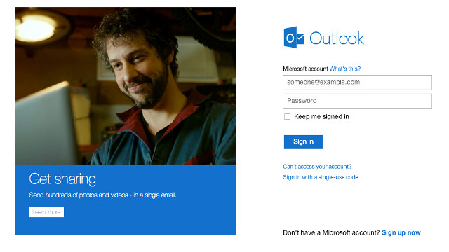 ROSY OUTLOOK. Microsoft's new mail service gets 1.5-M new accounts in 12 hours. Screen shot from Outlook.com