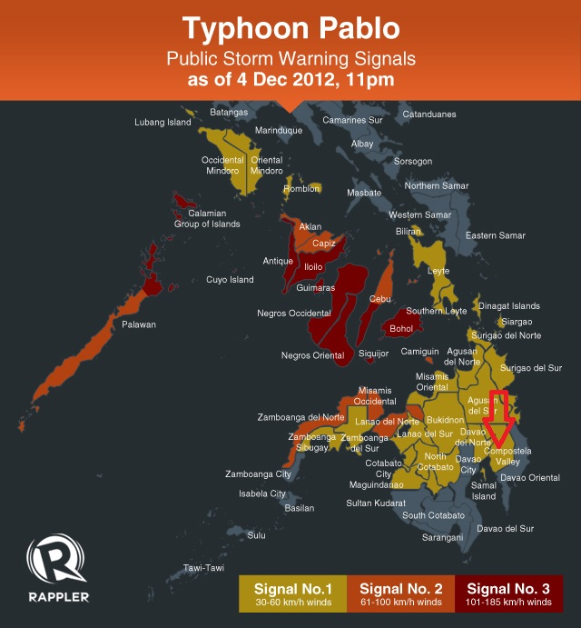 STORM SIGNAL. Provinces under storm signal during typhoon Pablo's onslaught.