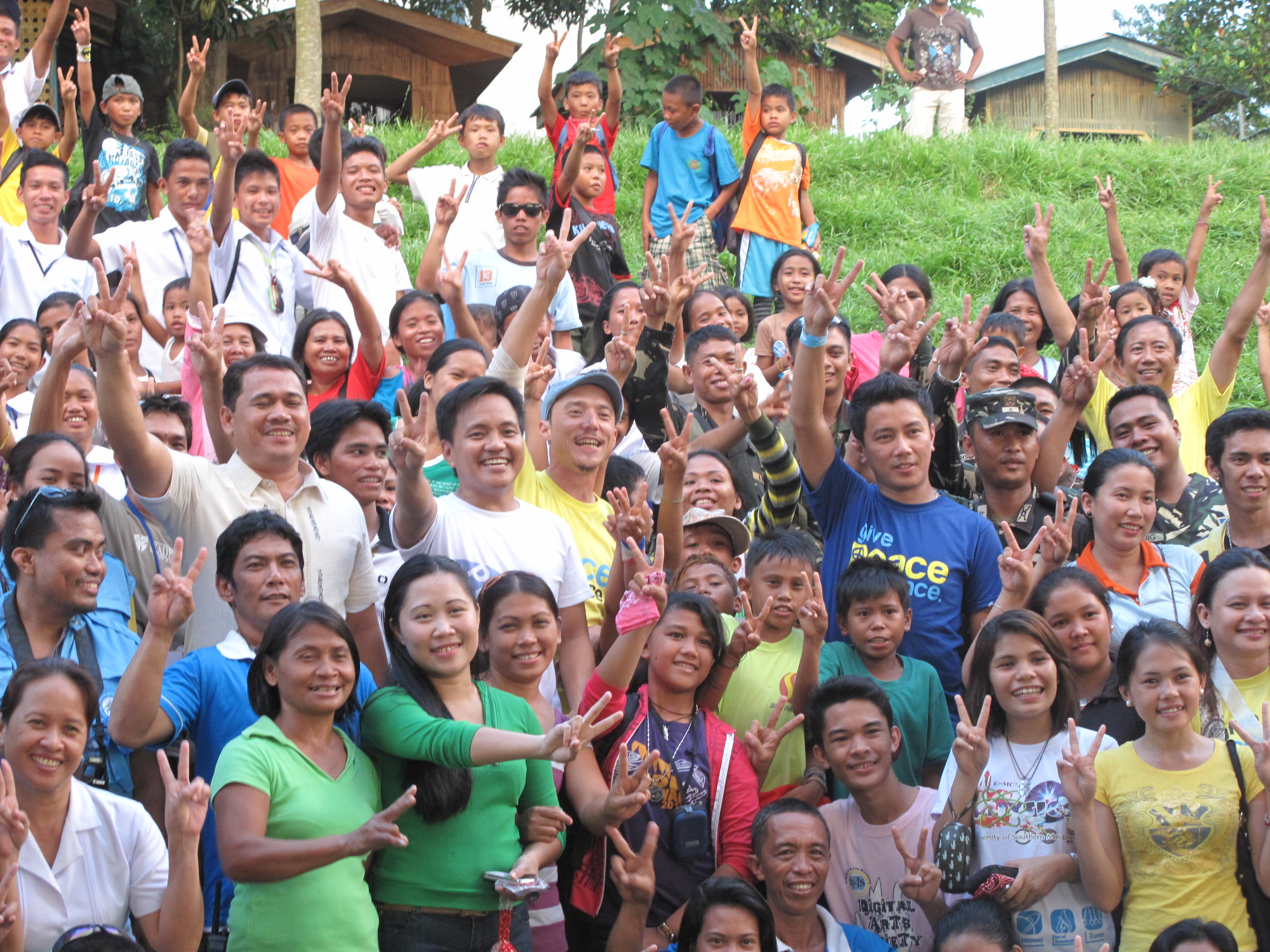 PEACE SIGN. Celebrity Peace Ambassadors visit Aleosan, North Cotabato in the first of a series of immersion activities organized by the Office of the President Adviser on the Peace Process. Photo by Angela Casauay.