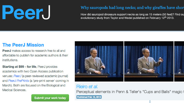 JOURNAL LAUNCH. PeerJ launches with its first batch of 30 research articles. Screen shot from PeerJ website.