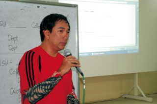 Petilla, still wearing his wetsuit, addresses academics at Visayas State University. Photo by Jed Asaph Cortes