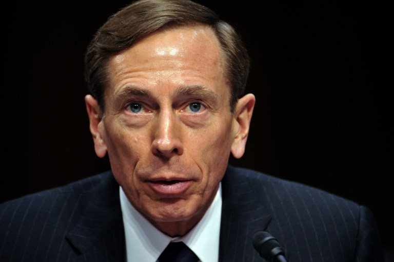 "CIA Director David Petraeus, testifies before the US Senate Intelligence Committee during a full committee hearing on ""World Wide Threats."" in this January 31, 2012 on Capitol Hill in Washington, DC. AFP PHOTO/Karen BLEIER"
