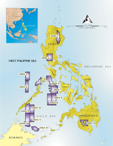 ENERGY BLOCKS. Areas for offer under the Fourth Philippine Energy Contracting Round. Photo courtesy of Department of Energy.