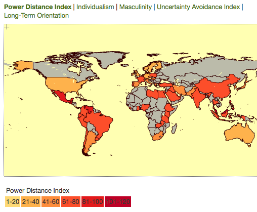 THE POWER DISTANCE INDEX (Source: www.clearlycultural.com)