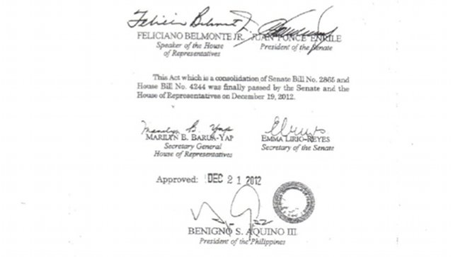 SIGNED: The RH bill is now Republic Act 10354