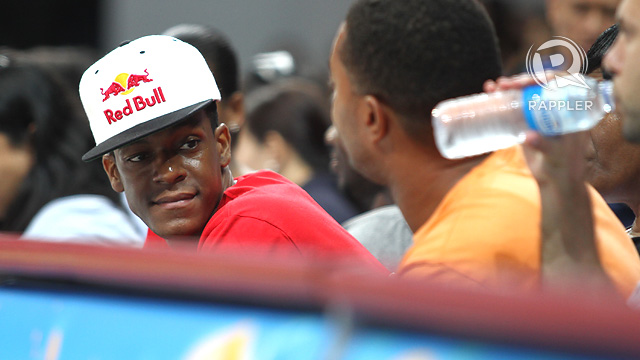 VISITOR. Rajon Rondo watched a UAAP basketball game during his recent visit to the Philippines. Photo by Josh Albelda.