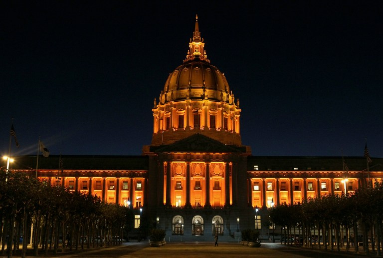 San Francisco city hall is seen illuminated with orange lights, October 25, 2010 in San Francisco, California. Justin Sullivan/Getty Images/AFP