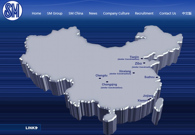 CHINA MALLS. The map shows SM Prime's various malls in China. This is a screengrab from a page on www.smcity.cn/en/map.php