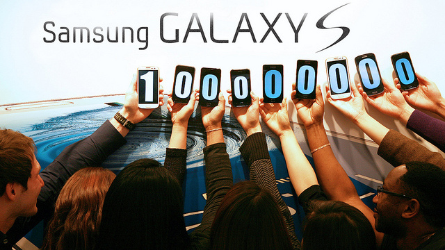 100 MILLION. Samsung's Galaxy S series unit sales hit a new milestone. Photo from Samsung Tomorrow Flickr at http://www.flickr.com/photos/samsungtomorrow/8379134928