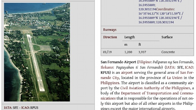 Screenshot of a page on en.wikipedia.org/wiki/San_Fernando_Airport_(Philippines)