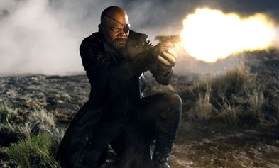 FIRE OF FURY. Samuel Jackson plays Nick Fury, the one who called the super heroes together to form the Avengers