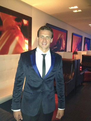 READY. Swimmer Ryan Lochte tweets his outfit en route to an athletes party. Photo from Lochte's official Twitter account.