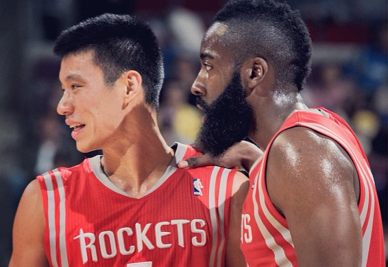 NEW BACKCOURT. Jeremy Lin and James Harden make up the Houston Rockets' new backcourt. Photo courtesy of official NBA Twitter account.