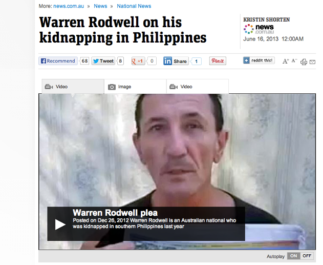"""BETTER. Warren Rodwell says he """"pulled up pretty well"""" since he was released by Abu Sayaff earlier this year. Screenshot from news.com.au"""