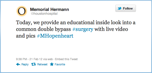 Live open-heart surgery, 140 characters at at time