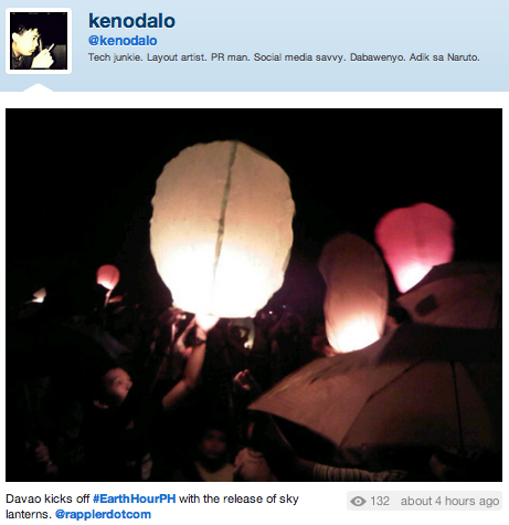 SKY LANTERNS. A Twitter user shares how Davao celebrated the Earth Hour