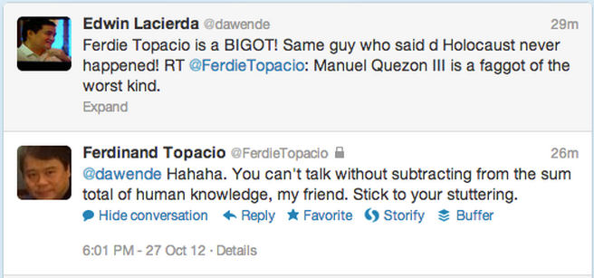 WORD WAR. Presidential spokesperson Edwin Lacierda and Arroyo lawyer Ferdie Topacio exchange jabs on Twitter