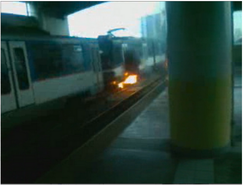 FIRE. A Twitter user posted a screen grab from video by screen grab of the MRT train on fire from video of Ericka Vernadette Sallador