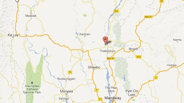 SHALLOW QUAKE. Image of the affected region in northern Myanmar by Google Maps