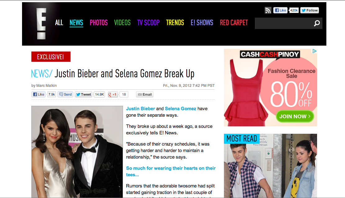 IT'S OVER. Bieber and Gomez are no longer a couple. Screenshot from E! News.
