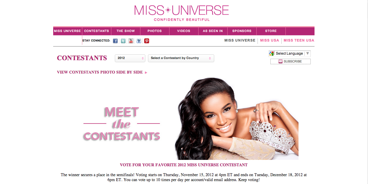 Miss Universe 2012 online voting begins