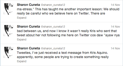 Screenshot from Sharon Cuneta's Twitter account
